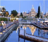 Provincial Parliament building in downtown Victoria with harbour in foreground